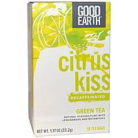 Good Earth Teas, Цитрусовый поцелуй, декофеинизированный зеленый чай с лемонграссом, 18 пакетиков, 1,17 унции (33,2 г)