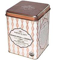 Harney & Sons, Заварка для чая со льдом, органический зеленый чай с кокосовым 6-2 Quart чайных пакетиков, 3 унции (.11 г)