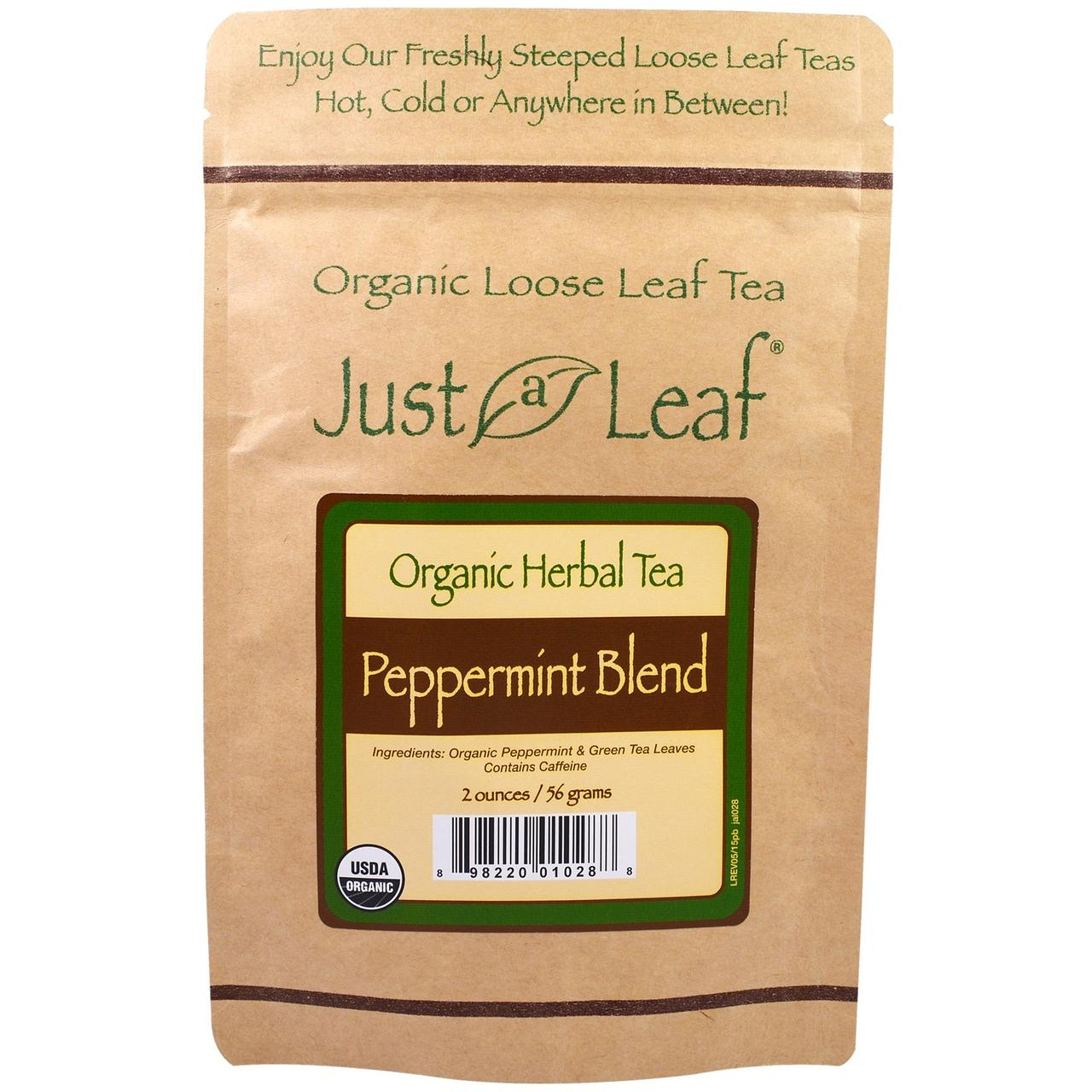 Just a Leaf Organic Tea, Peppermint Blend, Loose Leaf Tea, With Refreshing Green Tea Leaves, 100% Pure, No GMOs, 2 oz (56 g)