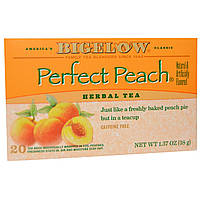 Bigelow, Травяной чай, идеальный персик, без кофеина, 20 чайных пакетиков, 1,37 унции (38 г)