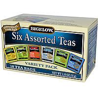 Bigelow, Шесть чайных ассорти, разнообразные упаковки, 18 пакетиков, 1,10 унции (31 г)