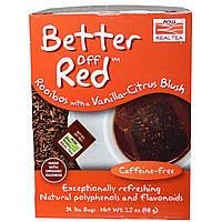 Now Foods, Real Tea, Better Off Red, Красный чай ройбуш с нотами ванили и цитруса без кофеина, 24 чайных пакетика, 1,7 унции (48 г)