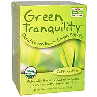 Now Foods, Real Tea, Зеленое умиротворение, органический зеленый чай без кофеина, 24 пакетика, 1,5 унции (43 г)