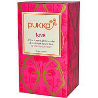 Pukka Herbs, Love, Чай с органической розой, ромашкой и лавандой, без кофеина, 20 пакетиков, 0,8 унции (24 г)