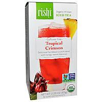 Rishi Tea, Холодный органический артизанский чай без кофеина, тропический малиновый, 5 1-квартовых пакетиков, 60 г (2,11 унции)