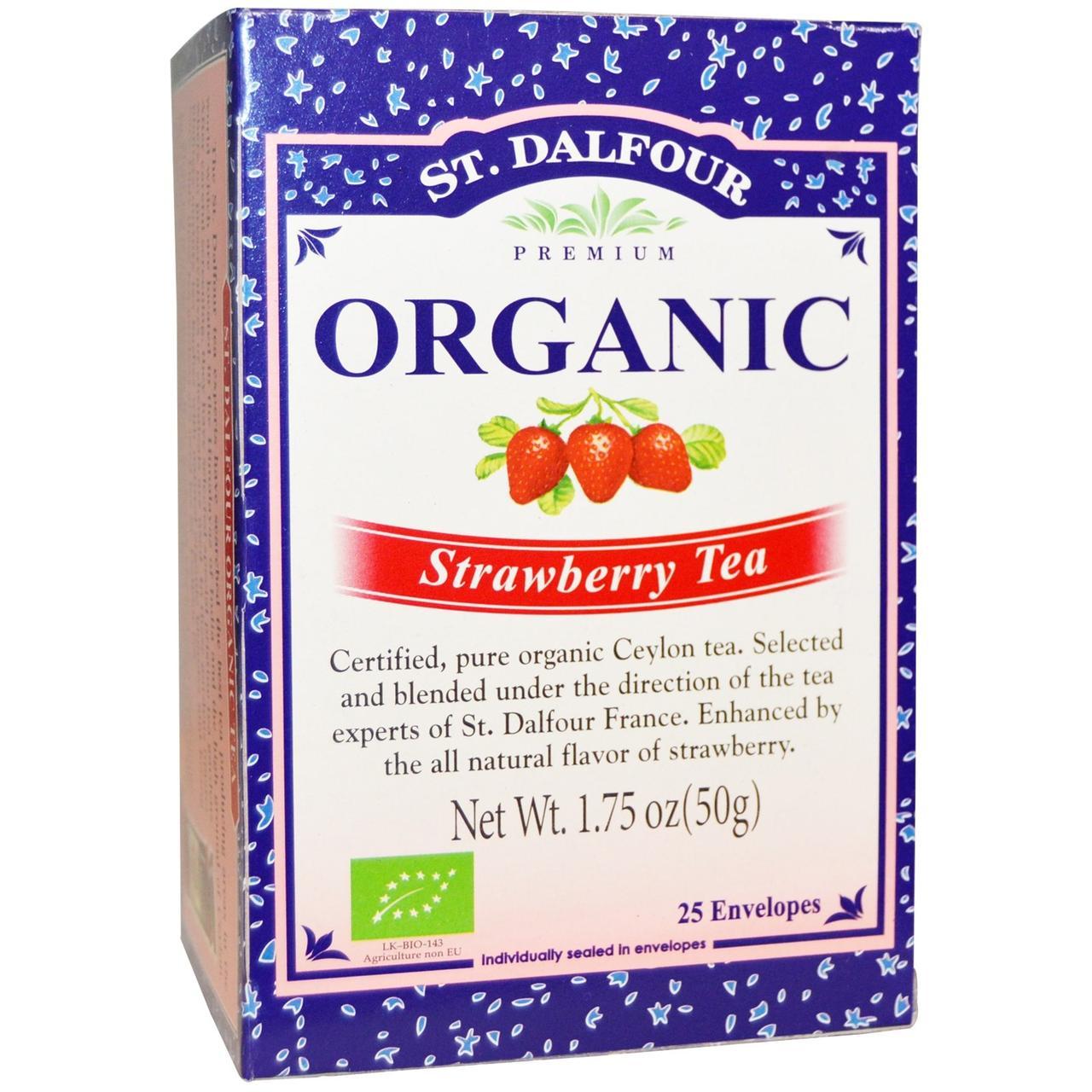 St. Dalfour, Organic, клубничный чай 25 чайных пакетиков, 1.75 унции (50 г)