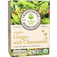 Traditional Medicinals, Травяные чаи, Органические имбирь и ромашка, натуральный травяной чай без кофеина, 16 чайных пакетиков, 0.85 унции (24 г)