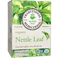 Traditional Medicinals, Органический травяной чай из листьев крапивы, без кофеина, 16 чайных пакетиков в индивидуальной упаковке, 1,13 унции (32 г)