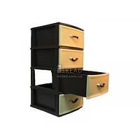 Комод 4-ярусный Овал коричневый Стиль 38*49*88 см Коричневый комбинированный