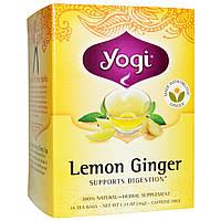 Yogi Tea, Чай с лимоном и имбирем без кофеина, 16 чайных пакетиков, 1.27 унций (36 г)