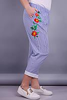 Барбарис. Стильные брюки больших размеров. Полоска.