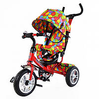 Велосипед 3-х колесный с ручкой TILLY Trike T-351-1 КРАСНЫЙ с большими надувными колесами