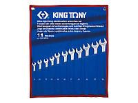 Набор комбинированных удлиненных ключей, 8-24 мм, чехол из треатонаа, 11 предметов. King Tony 12A1MRN