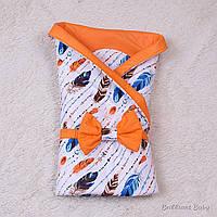 """Конверт на выписку """"Перья"""" Brilliant Baby Valleri оранжевый с голубым - Лето"""