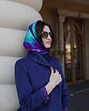 Шелковый платок в синих тонах в клетку Chadrin, фото 6