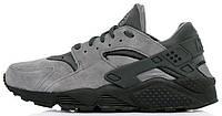 Мужские кроссовки Nike Air Huarache Grey Suede (Найк Хуарачи) серые