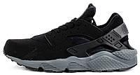 Мужские кроссовки Nike Air Huarache Black Grey (Найк Аир Хуарачи) черные/серые