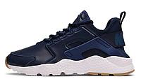 Мужские кожаные кроссовки Nike Air Huarache (Найк Хуарачи) синие