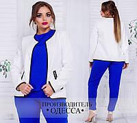 Белый женский пиджак большого размера ( р. 50-56 )