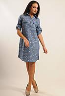 Удобное женское платье рубашка джинсовое