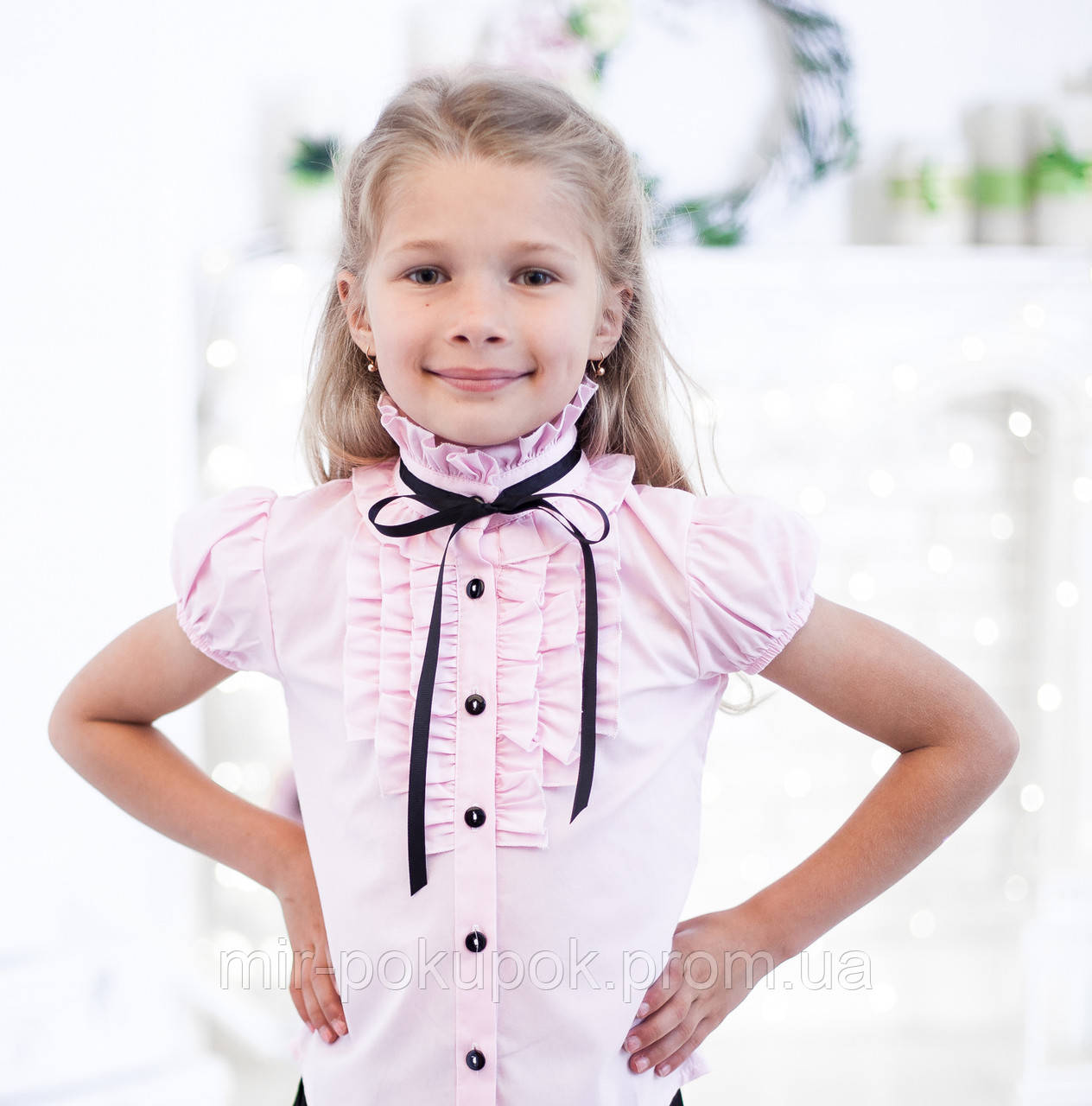 c908a428f94 Блузка в школу для девочек 2071к- розовый