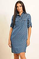 Женское платье рубашка джинсовое с морским принтом