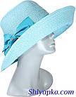 Шляпа мягкая с украшением в виде банта голубая, фото 3