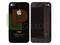 Задняя крышка для iPhone 4 черная, копия высокого качества