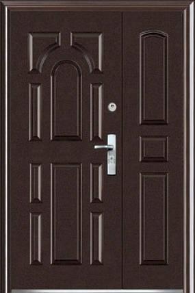 Полуторные двустворчатые входные двери ААА 724 на улицу Китай, фото 2