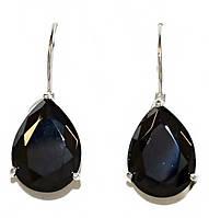 Серьги (Замок: петля).Камень: чёрный циркон . Родий. Высота серьги: 3 см. Ширина: 12 мм