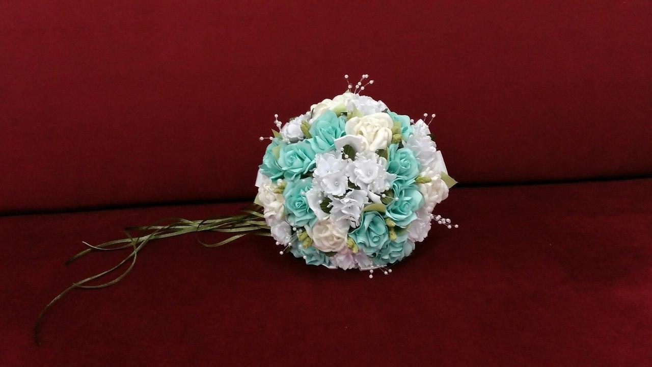 Свадебный букет-дублер мятный с белым