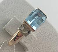 Кольцо с натуральным топазом золотое 585 проба