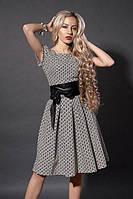 Женское летнее модное коричневое в цветочек платье коттон стрейч