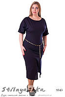 Платье с разрезом большого размера темно-синее, фото 1