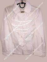 Блузка белого цвета для девочки в школу со съемным жабо  1221