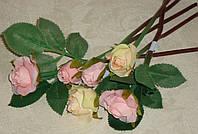 """Букет искусственных мини роз (6 шт) кремово-розового цвета """"Люкс"""""""