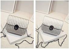Стильная Fashion сумка-клатч на цепочке, с плетением, фото 3