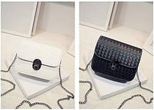 Стильная Fashion сумка-клатч на цепочке, с плетением, фото 2