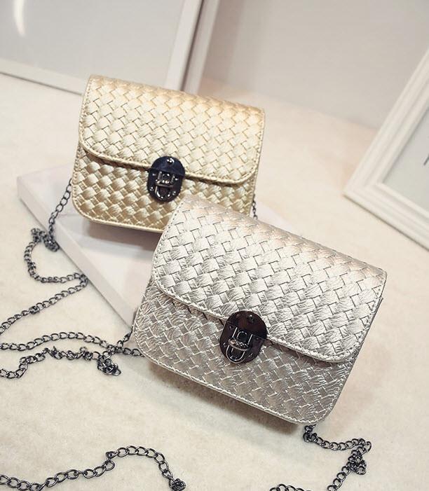 Стильная Fashion сумка-клатч на цепочке, с плетением