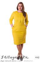 Стильное платье с карманами большого размера горчица, фото 1