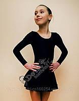 Купальник для танцев с юбкой черный  XL(146-152 см)