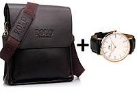 Мужская сумка Polo Videng. Большой размер+часы в Подарок