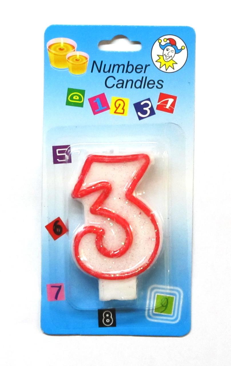 """Свеча на торт цифра """"3""""."""
