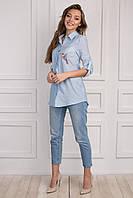 Стильная женская рубашка небесно-голубого цвета, с принтом птица