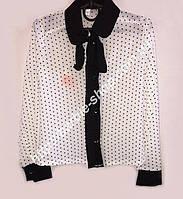 Школьная блуза для девочки белого цвета с оригинальной вставкой