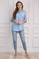 Качественная блуза из шлифованного поплина, василькового цвета с принтом птица