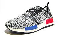 Кроссовки мужские Adidas NMD текстиль, бело-серые (адидас)р.40,41,42,43,44