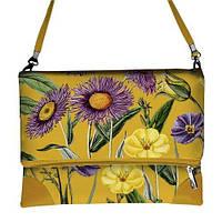 Желтая сумка через плечо женская с принтом цветник