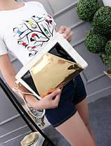 Модная сумка клатч с голографической вставкой, фото 3