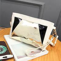 Модная сумка клатч с голографической вставкой